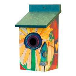 Sunflower Birdhouse in Vinyl/PVC - For some fab color on a fence, tree trunk or anywhere in the garden, the Sunflower Birdhouse is it!