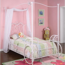 Powell Princess Emily Canopy Bed - Your little girl will be whisked away to fairytale dreams when she sleeps in her Princess Emily Canopy Bed. Whether she's Cinderella off to the ball or a pretty princess traveling her realm your daughter will love the carriage design of this one-of-a-kind bed. The elegant arched canopy top and ornate base complete with faux wheels is made from tubular steel in a shabby chic white with pink sand-through finish.About Powell FurnitureBased in Culver City Calif. the Powell company designs imports and distributes youth occasional dining and accent furniture across all style categories. Since 1968 Powell has grown to become one of the most recognized names in the home furniture industry. From sturdy safe children's furniture to elegant bedroom and other home collections Powell continues to develop new and exciting designs for homes around the globe.
