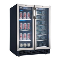 Danby - Danby DBC2760BLS Silhouette Beverage Center/Wine Cooler - DBC2760BLS - Shop for Wine Refrigerators from Hayneedle.com! The Danby DBC2760BLS Silhouette Built-In Wine Cooler does double duty with dedicated wine and beverage compartments. For the home bar or game room you can do no better than this high-capacity cooler. A crisp modern design with black cabinet and stainless steel frame elegant tempered glass door and sleek all black interior will add an instant update to any setting. Whether employed as a built-in or freestanding cooler this piece will make addition to any setting. The Danby DBC2760BLS Silhouette offers capable 27-bottle capacity on in the wine compartment to keep your favorite varietals well organized and readily accessible. Beside it the beverage compartment offers space for up to 60 twelve-ounce cans of soft drinks or beer. Eacg compartment features its own thermostat with a 39-64 F range to ensure your wines and beverages are well preserved and ready to serve. Simply input desired temperatures using the easy-to-read LED-displays and let the cooler take care of the rest. In the wine compartment slide-out wire shelves with stainless steel trim provide easy access to your wines with minimal agitation. The beverage compartment features four tempered glass shelves with stainless steel trim. Cool blue LED illumination on both sides will beautifully showcase your collection without the heat of incandescent bulbs. You can easily take inventory locate the perfect bottle or simply sit back and admire a flattering display through the tempered glass doors each of which is fitted with an integrated lock for added security. About Danby ProductsDanby is one of the largest household appliance marketing companies in North America with an impressive lineup of compact specialty and home comfort appliances to suit the lifestyles of today's consumer. Danby's reputation as a leader in the appliance market has been achieved by researching what consumers want and providing quality innovative products at competitive prices to fit their lifestyles.