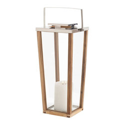 Kathy Kuo Home - Zeke Coastal Beach Large Modern Light Wood Silver Floor Candle Lantern - Sleek, modern and seriously stylish, this tall hurricane lantern conveys a strong mid century look.  We love how this piece delivers a slightly casual look with a seriously elegant design,  making it ideal for indoor or outdoor settings.