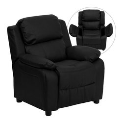 Flash Furniture - Flash Furniture Deluxe Heavily Padded Contemporary Black Leather Kids Recliner - Kids will now be able to enjoy the comfort that adults experience with a comfortable recliner that was made just for them! this chair features a strong wood frame with soft foam and then enveloped in durable leather upholstery for your active child. Choose from an array of colors that will best suit your child's personality or bedroom. This petite sized recliner features storage arms so kids can store items away and retrieve at their convenience. [BT-7985-KID-BK-LEA-GG]