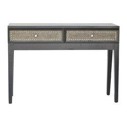 "Crestview - Crestview CVFZR353 Harrison Sofa Table - Harrison Sofa Table Sofa Table in Espresso Linen Finish, Wood & MDF Construction  46""W x 14""D x 32"" Ht."