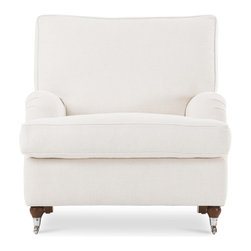 Bryght - Edward White Armchair - A trendy English roll arm chair that exudes high style. Generous T- shaped back and seat cushions are plush and comfy while a solid structure provides ample support. Chrome casters add a perfect urban finish to this contemporary piece. The Edward collection is ideal when company's over or to simply snuggle up with a good book.