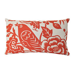 The Pillow Studio - Double Sided Aviary Bird Lumbar Pillow Cover by Thomas Paul in Tangerine Orange - I love this bird lumbar pillow cover In tangerine orange so much that I put the fabric on both sides.