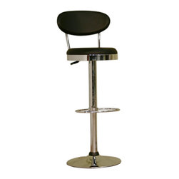 Baxton Studio - Baxton Studio Achilla Black Adjustable Barstool - Accentuate your home bar or counter with this modern barstool.  Adjustable height with swivel base.  This barstool is constructed of durable chromed steel. Easy-to-clean vinyl seating in black. Comfortable high density foam padding.  Its perfect combination of quality craftsmanship and simple, sophisticated designs will instantly enhance your living space. Overall measures 16 inches wide x 15 inches deep x 42.75 to 34.5 inches high.  Seat measures 13.5 inches deep x 23.75 to 32 inches high.