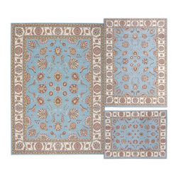 Nourison - Nourison Persian Floral Collection Blue Rug 3pc Set 3'11 x 5'3,5'3 x 7'3,7'10 x - Meandering floral patterns and intricate arabesque motifs exude a sense of luxury and comfort,while the resilient construction affords this carpet durability and stain resistance.