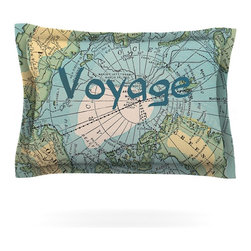 """Kess InHouse - Catherine Holcombe """"Voyage"""" Teal Map Pillow Sham (Cotton, 40"""" x 20"""") - Pairing your already chic duvet cover with playful pillow shams is the perfect way to tie your bedroom together. There are endless possibilities to feed your artistic palette with these imaginative pillow shams. It will looks so elegant you won't want ruin the masterpiece you have created when you go to bed. Not only are these pillow shams nice to look at they are also made from a high quality cotton blend. They are so soft that they will elevate your sleep up to level that is beyond Cloud 9. We always print our goods with the highest quality printing process in order to maintain the integrity of the art that you are adeptly displaying. This means that you won't have to worry about your art fading or your sham loosing it's freshness."""