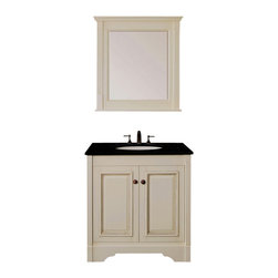 """Legion Furniture - 30 Inch Traditional Single Sink Bathroom Vanity - This 30 inch Traditional Single sink bathroom vanity is a perfect center piece for your bathroom project.  This Antique White bathroom vanity features 2 Doors; Soft Close Hinges , and a Black Granite counter top with a Undermount White Ceramic sink that is Pre-Drilled for Standard Three Hole 8"""" Center (Not Included). Large opening in back for easy plumbing installation.  Dimensions: 30""""W X 21.5""""D X 33""""H (Tolerance: +/- 1/2""""); Counter Top: Black Granite; Finish: Antique White; Features: 2 Doors; Soft Close Hinges; Hardware: Antique Brass; Sink(s): Undermount White Ceramic; Faucet: Pre-Drilled for Standard Three Hole 8"""" Center (Not Included); Assembly: Light Assembly Required; Large Cut Out in Back for Plumbing; Included: Cabinet, Sink; Not Included: Faucet, Backsplash, Mirror (30""""W X 3.5""""D X 32""""H)"""