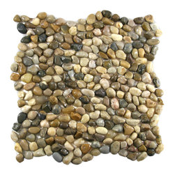 """Pebble Tile Shop - Mini Polished Cobblestone Pebble Tile - Each pebble is carefully selected and hand-sorted according to  color, size and shape in order to ensure the highest quality pebble tile  available.  The stones are attached to a sturdy mesh backing using  non-toxic, environmentally safe glue.  Because of the unique pattern in  which our tile is created they fit together seamlessly when installed so  you cant tell where one tile ends and the next begins!    Usage:          Shower floor, bathroom floor, general flooring, backsplashes,  swimming pools, patios, fireplaces and more.  Interior & exterior.  Commercial & residential.    Details:          Sheet Backing: Mesh          Sheet Dimensions: 12\ x 12\""""          Pebble size: Approx 1/4\"""" to 1/2\""""          Thickness: Approx 1/4\""""          Finish: Polished Cobblestone"""""""