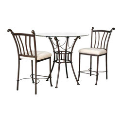 Cramco - Cramco Denali 3-Piece Round Chiseled Glass Counter Height Table Set - Features: