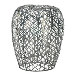Kathy Kuo Home - Open Strip Metal Modern Ottoman Accent Side Table - The raw beauty of  iron and the enduring craft of basket weaving are combined to create this bold, utterly modern end table which can also be used as a stool.  Don't be fooled by the delicate lines and light, airy looks - this piece is as strong as it is beautiful.