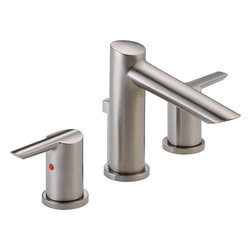 """Delta - Delta 3561-SSMPU-DST Compel Series Two-Handle Widespread Lavatory Faucet - The Delta 3561-SSMPU-DST is a Compel Series two handle Widespread Lavatory Faucet. This widespread lavatory faucet features a sleek, urban sophistication to any bathroom, and it's versatile enough for a 4"""" to 16"""" center 3- hole sink installation. The two lever handles give you ultimate volume and temperature control, and it is ADA and CalGreen compliant. This model comes in a classic, Stainless Steel finish."""