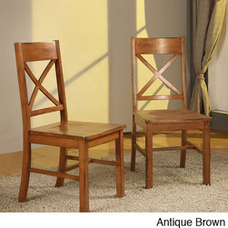 None - Solid Wood Dining Chairs (Set of 2) - Bring some comfort to your home with these brown, wood dining chairs. Constructed from solid wood, these contemporary side chairs are built for long-lasting durability. With an antique brown finish these chairs are a great addition to any home.