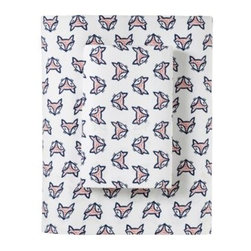 Serena & Lily - Fox Sheet Set - In classic navy and red, this whimsical print makes us smile every time we see it. Foxes appear right side up and upside down, for added playfulness.