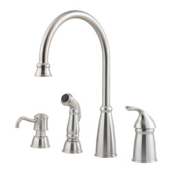 Price Pfister - Pfister GT26-4CBS Avalon One Handle Kitchen Faucet - Price Pfister GT26-4CBS is a Avalon Series Single Control 4-Hole Kitchen Faucet With Matching decorative Side Spray and Soap Dispenser.