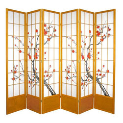 Oriental Furniture - 7 ft. Tall Cherry Blossom Shoji Screen - Honey - 6 Panels - Based on the traditional use of shoji rice paper in Japanese homes, this folding room divider doubles down on Eastern style with a beautiful cherry blossom print. Shoji paper is renowned for its ability to allow diffused light while still creating a solid barrier for privacy, and ours comes fiber-reinforced for added durability. This extra-tall divider is built from sturdy spruce, and features a wooden kick plate at the bottom to guard against scuffs.