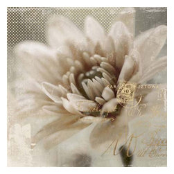 Yosemite Home Decor - Blooming Softly II Art - Large, blooming, ivory flower print on linen in soft hues of taupe, ivory and gray enhanced with metallic flourishes and script.