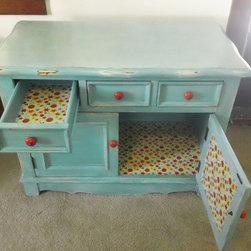 kara j. - Upcycled Shabby Chic Cabinet, hand painted,  Aged to perfection, drawers and cabinet are fabric lined and aged. Poppy red pulls.
