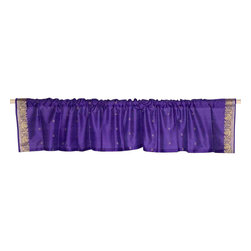 Indian Selections - Pair of Purple Rod Pocket Top It Off Handmade Sari Valance, 60 X 15 In. - Size of each Valance: 60 Inches wide X 15 Inches drop. Sizing Note: The valance has a seam in the middle to allow for the wider length