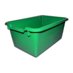 Ecr4kids - Ecr4Kids Scoop-Front Plastic Tote Storage Bins Green Pack Of 10 - A SET OF 10, scoop-front, polypropylene tote bins designed for use with ECR storage cabinets.Heavy-duty, scoop-front, polypropylene tote bins with rounded edges for safety. Fits all ECR storage units and most standard cubbie units that are 12D or more. Available in Red, Blue, Yellow, White, Clear and Green.