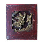Red Chinese Furniture Panel - Vintage carved wood panel from rural China. From a set of hand-carved wood panels that have been popped out of various pieces of vintage furniture.