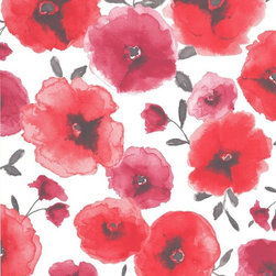 Graham & Brown - Poppies Red Wallpaper - Gorgeously delicate layered poppies in a soft watercolour treatment. Designed to sit with Waterfall stripe.