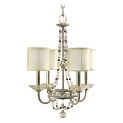 Thomasville Lighting - Thomasville Lighting P4442-34 Chanelle 4 Light 1 Tier Mini Chandelier - Thomasville Lighting P4442-34 Four Light Chanelle Single Tier Mini ChandelierInspired by the Art Nouveau movement of turn of the century Europe, this elegant four light, single tier mini chandelier will make for an elegant addition to any dining room, bedroom, or elsewhere. With hand applied gold and silver layered leaf finish and graceful glass beads around a classic decorative hooped frame, the appeal of this dramatic fixture is readily apparent and undeniable.Thomasville Lighting P4442-34 Features: