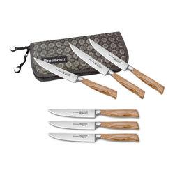 Messermeister - Messermeister Oliva Elite - 6 Pc Multi-Edge Steak Knife Set in Pouch - Includes: