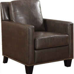 "Coaster - Accent Chair, Brown - Wrapped in a brown bonded leather, this accent chair is a great addition to any traditional living room or office. Featuring plush seating, straight arms and nailhead trim.; Finish/Color: Brown; Upholstery: Bonded leather; Dimensions: 31""L x 37""W x 36.50""H"