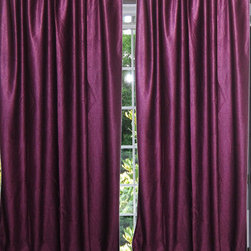 Mogul Interior - Purple Tab Top Sari Curtain / Drape / Panel- Pair India Window Treatment - Indian silk sari Curtain window drape Panels are not lined the perfect choice for your color matching bedroom decor, light, drapes with peasant look.