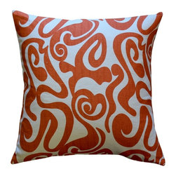 Pillow Decor - Pillow Decor - Tuscany Linen Swirl Orange Throw Pillow 20x20 - Bold orange swirls on a cream background makes this 100% linen throw pillow a great home accent. A contemporary design with a retro twist, this pillow will be just as much of a hit in your home as it could be on the set of an Austin Powers movie.