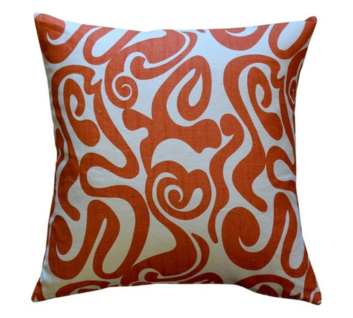 Pillow Decor - Pillow Decor - Tuscany Linen Swirl Orange Throw Pillow 20 x 20 - Bold orange swirls on a cream background makes this 100% linen throw pillow a great home accent. A contemporary design with a retro twist, this pillow will be just as much of a hit in your home as it could be on the set of an Austin Powers movie.