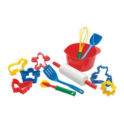 The Original Toy Company - The Original Toy Company Kids Children Play Baking Set - Baking set offer 12 pcs, mixing bowl utencils and cooking cutters. Age: 18 months plus. Made in Denmark.
