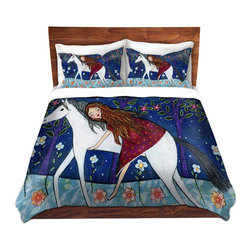 DiaNoche Designs - Duvet Cover Twill - Horse Dreamer - Lightweight and soft brushed twill Duvet Cover sizes Twin, Queen, King.  SHAMS NOT INCLUDED.  This duvet is designed to wash upon arrival for maximum softness.   Each duvet starts by looming the fabric and cutting to the size ordered.  The Image is printed and your Duvet Cover is meticulously sewn together with ties in each corner and a concealed zip closure.  All in the USA!!  Poly top with a Cotton Poly underside.  Dye Sublimation printing permanently adheres the ink to the material for long life and durability. Printed top, cream colored bottom, Machine Washable, Product may vary slightly from image.
