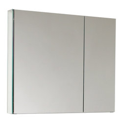 """Fresca - Fresca 30"""" Wide Bathroom Medicine Cabinet w/ Mirrors - Dimensions:  29.5""""W x 26""""H x 5""""D. 2 Glass Shelves. 2 Mirrored Doors. Recessed Mounting Option. . . . . This 30"""" medicine cabinet features mirrors everywhere.  The edges have mirrors and also on the interior of the medicine cabinet.  The inside features two tempered glass shelves.  Can be wall mounted or recessed into the wall."""