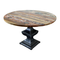 Rustic Round Dining Room Table - Rustic Round Dining Room Table with pedestal base. A Tres Amigos furniture exclusive! Rustic Dining Room furniture with a touch of industrial design keeps this style fresh. A bit of contemporary design is used as well to accentuate the clean lines in this table. Some have called this transitional style as well. What do you think? Add colorful leather chairs to make a statement with this round dining table.