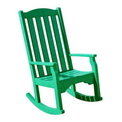Fifthroom - Siesta Highback Rocking Chair - Our Jefferson Rocking Chair is a combination of comfort, character, and quality.  Made from 100% Recycled Plastic Poly Lumber, it will ease away your tension year after year, without its joints breaking, its back bending, or its rockers warping.  Here's hoping that we all age that gracefully!