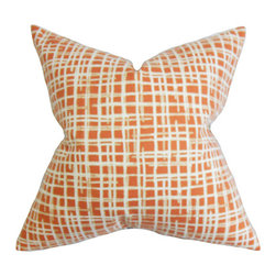 The Pillow Collection - Onslow Orange 18 x 18 Plaid Throw Pillow - - Pillows have hidden zippers for easy removal and cleaning  - Reversible pillow with same fabric on both sides  - Comes standard with a 5/95 feather blend pillow insert  - All four sides have a clean knife-edge finish  - Pillow insert is 19 x 19 to ensure a tight and generous fit  - Cover and insert made in the USA  - Spot clean and Dry cleaning recommended  - Fill Material: 5/95 down feather blend The Pillow Collection - P18-ROB-UNRAVEL-PERSIMMON-C100