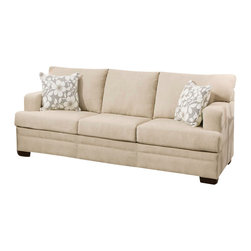 ACME - Acme Norell Sofa in Walnut - This casual styled living room sofa features a soft-styled elegance with a whisper of contemporary furniture fashion. Designed to reflect a casual style, this piece features plush stuffed cushions for relaxed comfort. Completed with decorative accent pillows that have a spring-time aura, this couch can be used in casual and transitional living room settings.