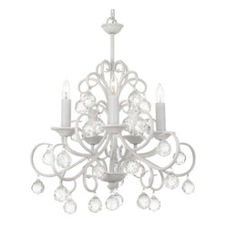 The Gallery - Bellora Crystal White Wrought Iron Chandelier - The elegance never ends with this as your ceiling centerpiece. A breathtaking white chandelier dripping crystal drops, strands and orbs creates a spectacle of sparkle in your decor.