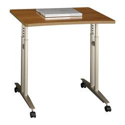 BBF - Bush Series C Adjustable Height Mobile Table in Warm Oak - Bush - Mobile Laptop Carts - WC67582