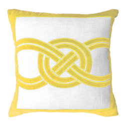 "Bandhini - Knot Yellow Lounge Throw Pillow - Plush and elegant, the Knot pillow introduces indulgent texture to a sofa or bed. On white cotton, yellow velvet lines express an alluring geometric pattern with a solid border. Made from 80% cotton, 20% velvet. Dry clean. Grey goose down fill insert included. 21""W x 21""H."