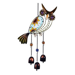 Great World - 22 Inch Multicolored Flower Stained Glass Owl Hanger, with Bells - This gorgeous 22 Inch Multicolored Flower Stained Glass Owl Hanger, with Bells has the finest details and highest quality you will find anywhere! 22 Inch Multicolored Flower Stained Glass Owl Hanger, with Bells is truly remarkable.