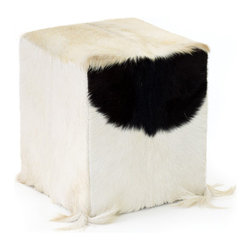 Gitty Up Stool - Give an appealing look to your room with this Gitty Up Stool. It has a wooden base with hair on hide that has attractive qualities. This stool features natural hide upholstery that will ratchet up the excitement in your home.