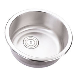 "TCS Home Supplies - 18 Inch Stainless Steel Undermount Single Bowl Kitchen / Bar / Prep Sink Round - Premium 16 Gauge Stainless Steel Kitchen Island / Bar Sink. Single Round Bowl. Undermount Installation. Brushed Stainless Steel Finish. Exterior Diameter 18"". Interior Diameter 16"". Depth 7-1/4""."