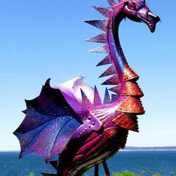 "Deep Purple Dragon Flamingo Incognito! - Deep Purple Dragon; Flamingo Incognito, reflects the iridescent evening sky with his changing color tones of deep blue, plum and royal purple with flecks of a coppery sunshine. He guards your garden from the predators of the night who terrorize your lettuce and carrots and munch on your prize roses. I call him ""Heliotrope"". This handmade garden and yard art is created with up-cycled plastic flamingos, recycled parts and large doses of imagination. Take a peek..this is definitely the gift for the person who has everything. Or for that person who always secretly wanted a pink, plastic flamingo but doesn't want it to look like a pink, plastic flamingo. Cost of shipping depends on your location, please email me for details. Custom Flamingos are available."