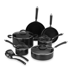 Farberware - Farberware Millennium Black Non-Stick Coated Porcelain Enameled Aluminum 12-Piec - Non-stick coated porcelain enameled aluminum cookware provides the benefits of non-stick with the durability of porcelain enameled aluminum. Silicone handles are double riveted securely to the pan and are comfortable to hold.