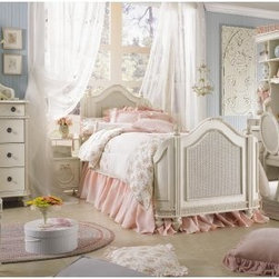 Emma's Treasures Mansion Bed - Your little girl will feel like royalty as she drifts off to sleep in her Emma's Treasures Mansion Poster Bed. This regal poster bed is made of sturdy wood in a vintage white finish, which adds even more enchantment to the carved woven cane details, turned feet, and handsome finials. The elegantly arched headboard and footboard curve inward for a traditional look that's fit for a fairy tale.The bed frame includes bed slats, which insert in the rails' predetermined slots to prevent unsafe spacing. The slat packs use screws to fasten each slat to the bed rails, providing superior support and added structural integrity to the assembled bed. How's that for the royal treatment?Bed Dimensions:Twin: 80L x 41W x 53H inchesFull: 80L x 56W x 53H inchesAbout Lea IndustriesLea Industries is a leading manufacturer of youth furniture. They offer a wide assortment of styles for both girls and boys, with a broad selection of specialized, functional designs for today's active kids, including four-poster canopy beds, bunk beds, storage beds, dual sleep beds, student desks, and learning centers for youth computing. Lea's wide variety of styles ranges from 18th century and country to casual contemporary. Lea traces its origins back to 1869. Their headquarters are located in Greensboro, N.C.