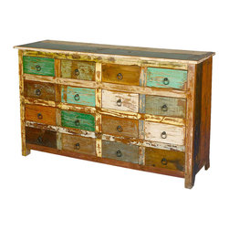 "Sierra Living Concepts - Julian Reclaimed Wood 16 Drawer Dresser Chest - Staying neat and organized can be relaxing, that's especially true with our Julian Rustic Dresser. This 60"" long solid hardwood dresser is designed in the style of the traditional apothecary chest."
