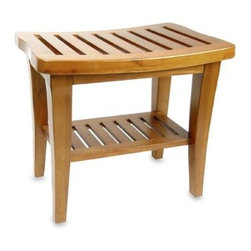 W.c. Redmon Co., Inc. - Teak Wood Shower Bench - Stylish and sophisticated, this shower bench has soft lines, a slotted seat and under-shelf surface, and is made of 100% teak wood.